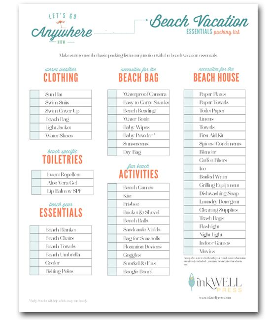 Free download travel packing checklist vacation packing for House essentials list