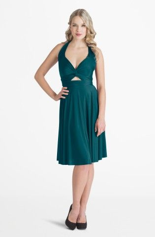 Iris Deep Teal Midi Convertible Dress - so perfect for holiday cocktail parties!