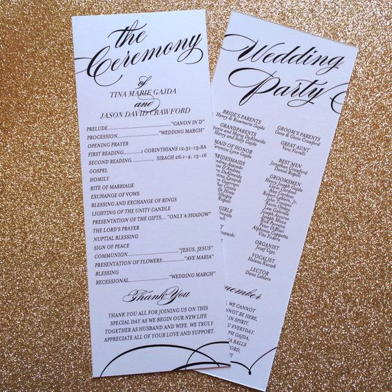 Unique Wedding Reception Program Ideas: Printable Wedding Program, Winter Wedding Programs, Unique