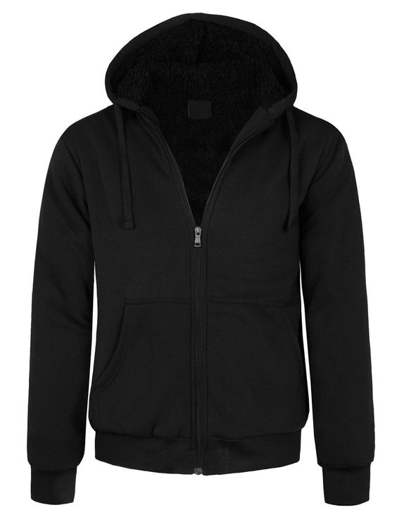 LE3NO Mens Fleece Zip Up Hoodie Jacket with Sherpa Lining