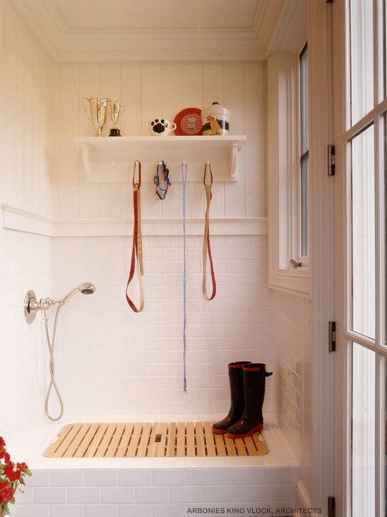 Dog Bath Design » Adorable Dog Shower With White And Peach Wall Color ... |  New Home Ideas | Pinterest | Peach Walls, Dog Shower And Bath Design