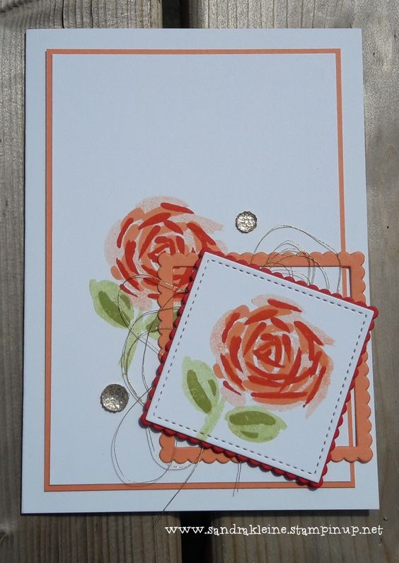 Grapefruit Grove Flower - Colours: Poppy Parade, Grapefruit Grove, Wild Wasabi. Stampset: Abstract Impressions / Bloemen zeggen meer. Others: Stitched Shapes Framelits, Layering Squares Framelits, Gold Faceted Gems, Gold Metallic Thread. Made especially for Challenge #411 at http://just-add-ink.blogspot.com/ Stampin' Up! by Sandra Kleine