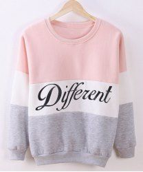 Preppy Style Women's Round Neck Color Block Letter Print Long Sleeve Flocking Sweatshirt (PINK AND WHITE,ONE SIZE(FIT SIZE XS TO M)) | Sammydress.com Mobile