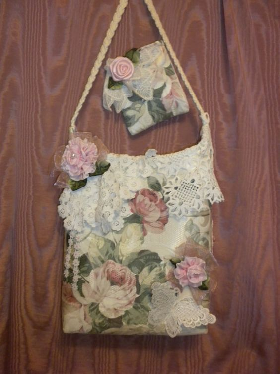 Pink Shabby Chic Dresser: Shabby Chic Pink Roses And Vintage Crochet Doilies Handbag