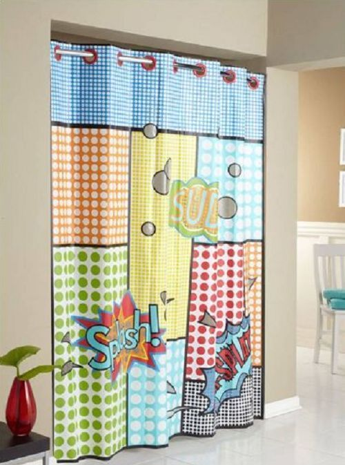 Splash Hookless PEVA Shower Curtain No Hooks Kid Fun Colorful Bathroom Tub