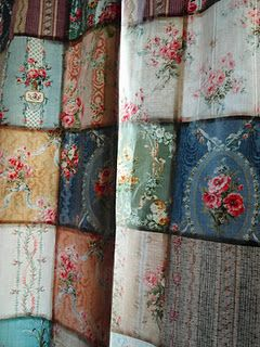 A great way to use vintage fabric to make a unique curtain
