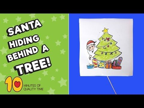 Santa Hiding Behind Tree Printable Craft 10 Minutes Of Quality Time Printable Crafts Easy Arts And Crafts Crafts