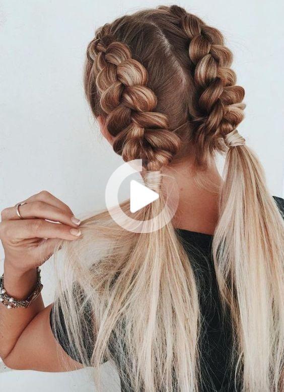 Faire Une Tresse Plaquee Collee Sur Le Cote Coiffure Cheveux Mi Long Belle Coiffure Cheveux Courts