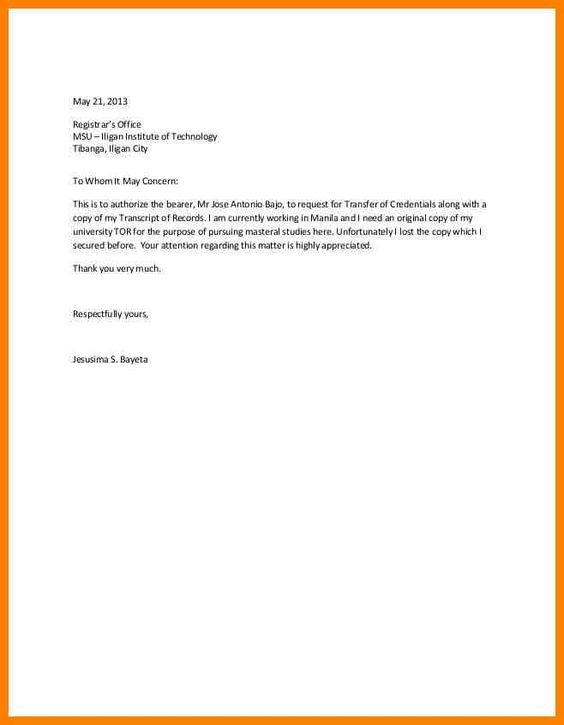 authorization letter get documents dialysis nurse sample printable - copy letter format to whomsoever it may concern