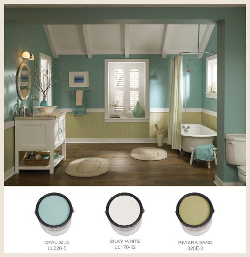 White fixtures complement soft sea glass green and sandy for Sea green bathroom accessories