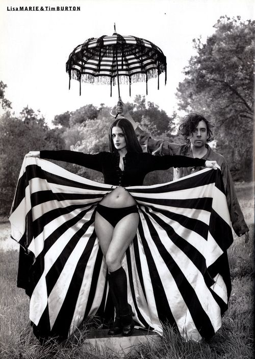 Lisa Marie Presley & Tim Burton - Love the inside of this gown/drape/thing, and the umbrella is awesome.