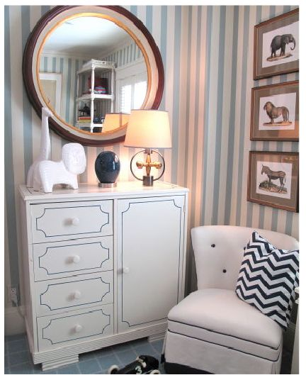 Dress up plain dresser with paint. Jack Table Lamp by Thomas O'Brien for Visual Comfort -- Interior Design by Liz Caan