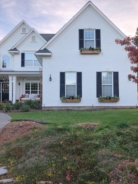 White House With Cedar Shutters : white, house, cedar, shutters, Exterior, Makeover-, Reveal!, Living, Makeover,, White, House, Black, Shutters,, Brick, Houses