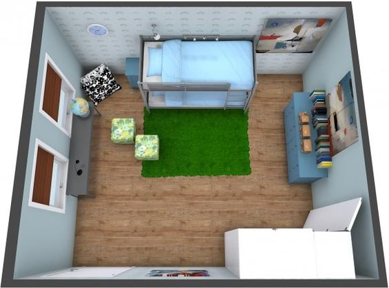 aerial view for a 3d floor plan for a kids room with bunk beds decor