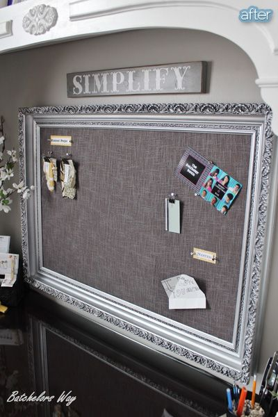 Chic bulletin board. Love the frame!! Love  the silver color & the black in the cracks just shows more details. The choice of material is perfect with this frame refurbishing. It really makes it super chic. I soooo.... want this one! Lol