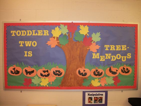 Classroom Ideas For 2 Year Olds ~ Our fall bulletin board for the year old classroom