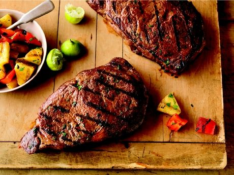 Caribbean Rib Eye Steaks with Grilled Pineapple Salad #NewMexicoBeefCouncil