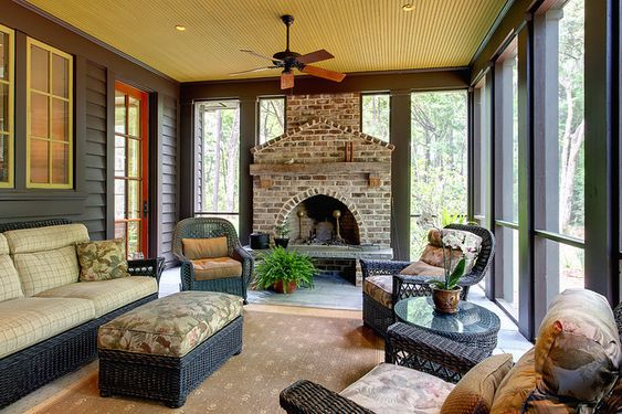 Screened in patio fireplaces and patio on pinterest for Outdoor rooms with fireplaces