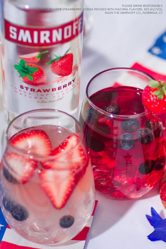 Plan your July 4th party like a patriot with these two Freedom Punch recipes.  Ingredients: 1.5 cups Smirnoff Strawberry 3 cups Cranberry Juice OR 2 cups Lemonade. Serves 8.
