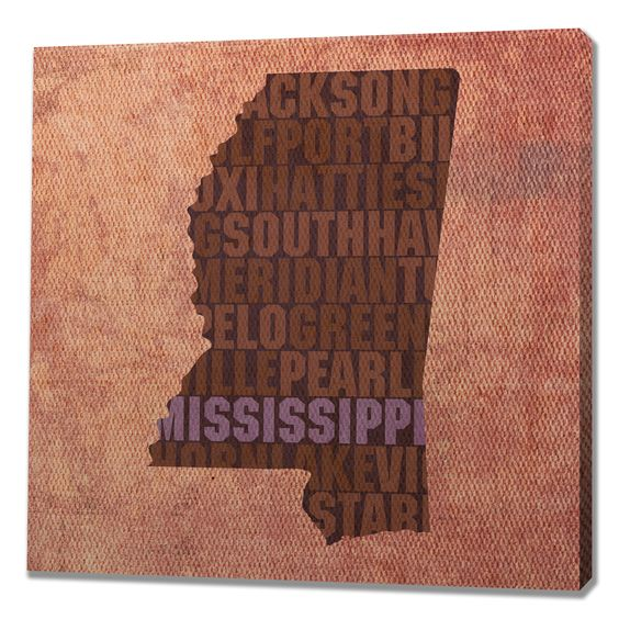 Mississippi Textual Art on Wrapped Canvas