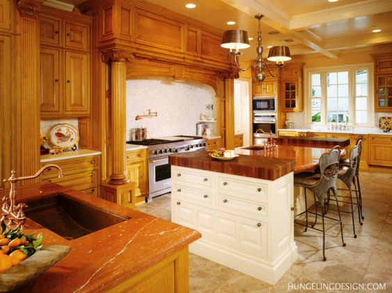 Kitchen Diner Ideas With Wooden Cherry Cabinet And Classic Pendant Lamp Ideas