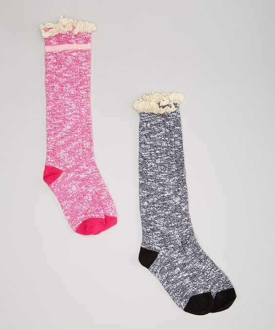 Look at this #zulilyfind! LaDeDa Socks Pink & Black Marled Lace-Trim Knee-High Boot Socks Set by LaDeDa Socks #zulilyfinds