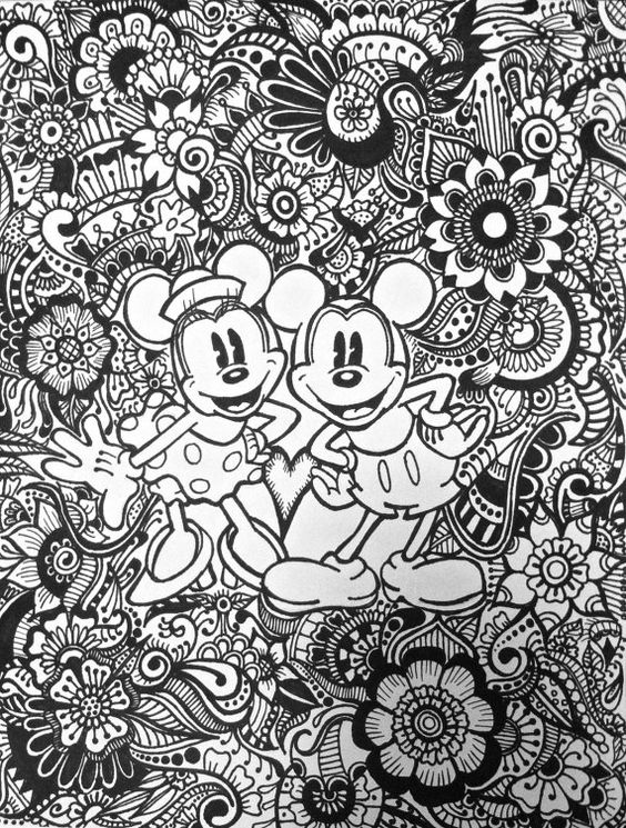 Disney Zentangle Coloring Pages : Mickey and minnie design disney et floral