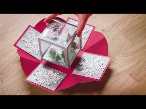 Wow Your Friends And Family With This Diy Holiday Exploding Box That Looks Like A Snow Globe Exploding Gift Box Exploding Boxes Exploding Box Card
