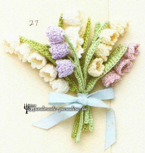 Миниатюрные букетики цветов крючком. Схемы (9)