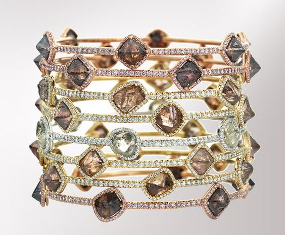 Diamonds In The Rough Stacked Rings.