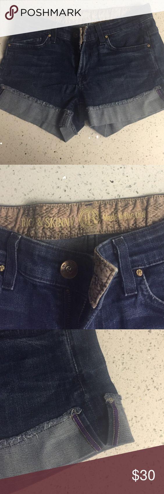 Rich and Skinny Jean Shorts Great summer shorts, dark wash, purple accent. Rich & Skinny Shorts Jean Shorts