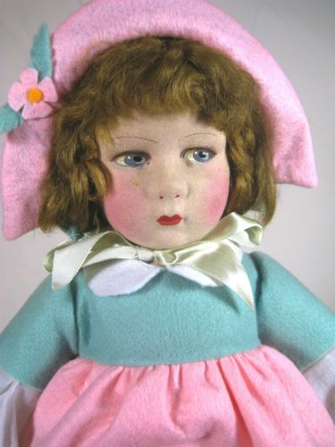 Antique Vintage Raynal Felt Lenci Type Doll Beautiful Coloring | eBay