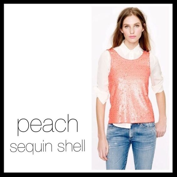 """j. crew // NWT sequin shell • peach Hand-finished sequins in subtly different shades give this draped scoopneck tank a cool, subtly heathered look we can't get enough of. (We added a tailored touch to the interior: little snaps to keep bra straps in place. Genius.) Cotton. Body length: 23 1/4"""". Brand new with tags. Cute dressed up but just as great with jeans. ⭐️ Reduced from $40. J. Crew Tops"""