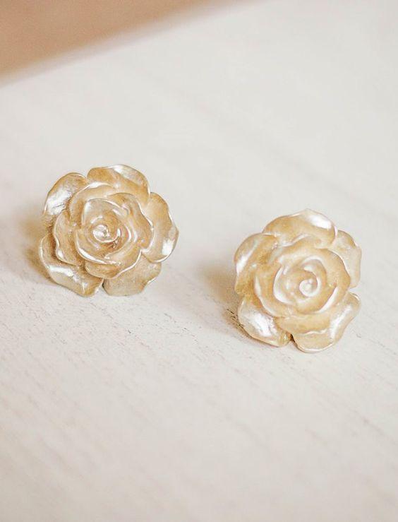 Gold Rose Earrings Rose Post Earrings Rose Stud Earrings Surgical