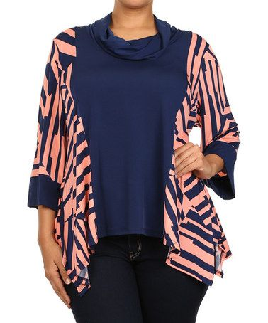 Another great find on #zulily! Navy & Coral Sidetail Cowl Neck Tunic - Plus #zulilyfinds 24.99
