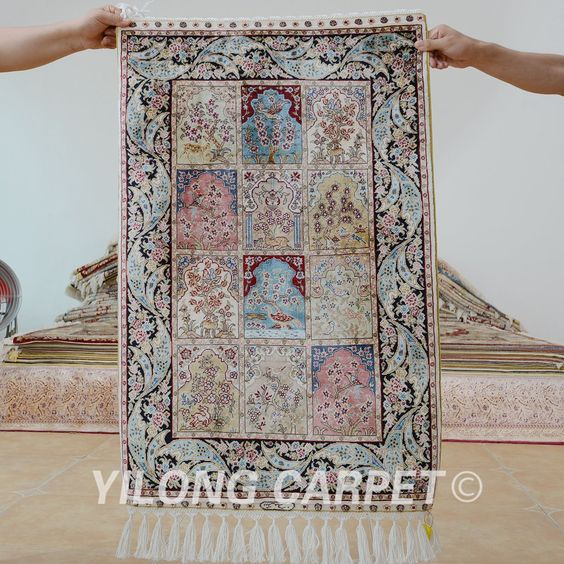Yilong 2'x3' Persian four season carpet design handmade exquisite Turkish garden rugs (0483)