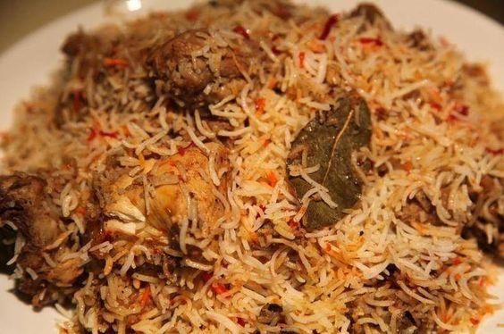 Biryani.... Rice with chicken.