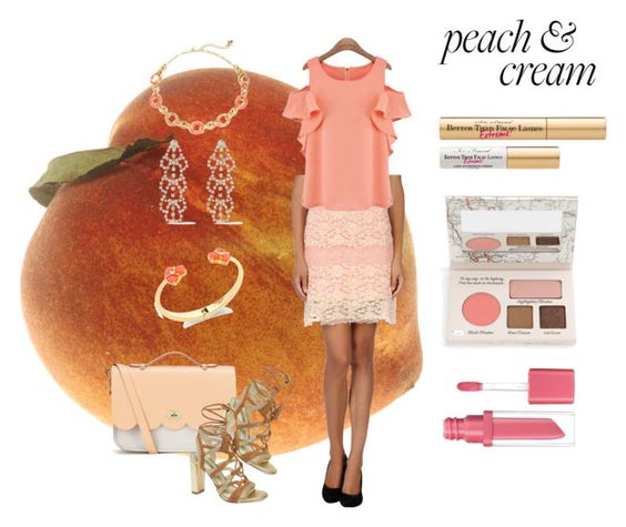 """I Love Peaches"" by chunky-chick ❤ liked on Polyvore featuring Swap Inside, The Cambridge Satchel Company, BCBGeneration, Kate Spade, Kenneth Jay Lane, TheBalm, Essence, peaches and plusizediva"