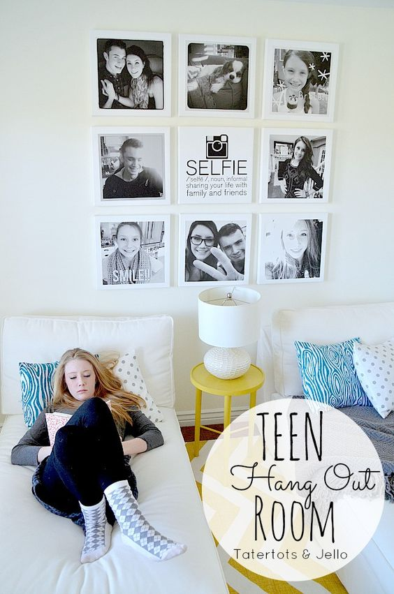 Teen Instagram Selfie Wall using #shutterflydecor and a FREE Selfie printable for you!! -- Tatertots and Jello #DIY: