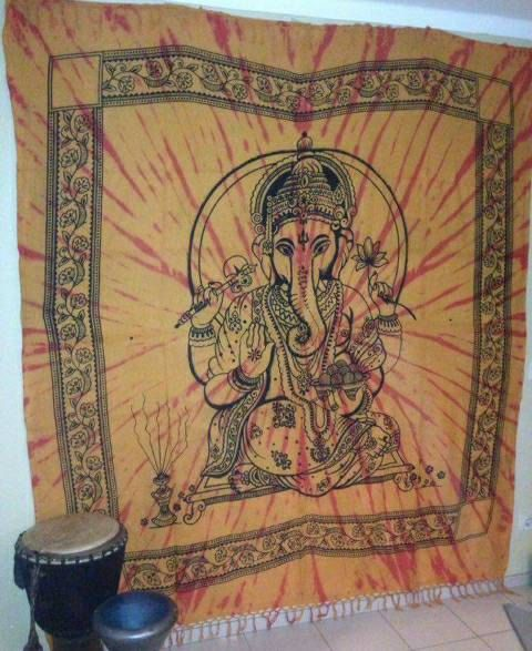 Orange tie dye Ganesh wallhanging. Ganesha by Miasdreadlockbeads