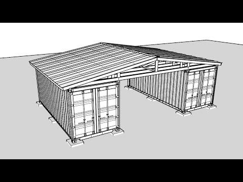Building A Roof Over Two Shipping Containers Sketchup Youtube In 2020 Building Roof Shipping Container Sheds Shipping Container