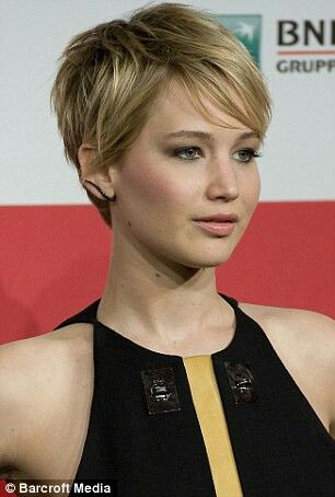 Jennifer lawrence pixi with long bangs and layers