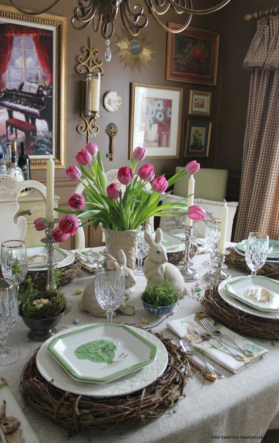Pottery barn napkins inspired easter table grapevine for Easter dinner table setting ideas