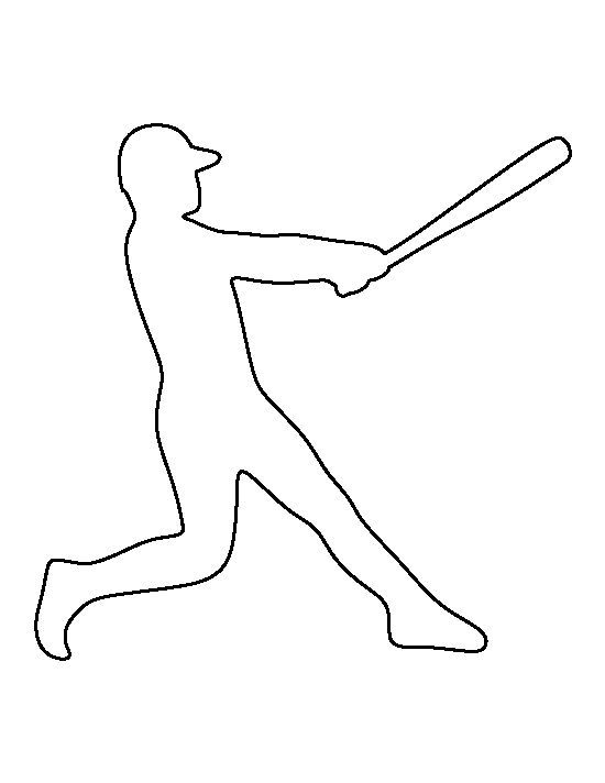 Baseball Player Pattern Use The Printable Outline For Crafts