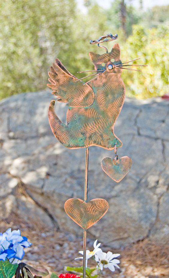 Cat Angel Pet Memorial Garden Stake / Outdoor by GardenCopperArt
