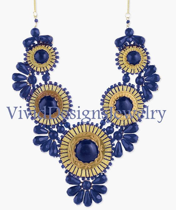 Blue Statement Bubble Necklace  Blue J Crew by VividDesignsJewelry, $59.00