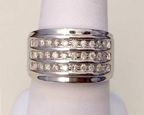 10k White Gold Mens Diamonds Wedding Band Anniversary Ring 3 Rows 11mm Wide 0 50ct Tw Mens Diamond Wedding Diamond Wedding Bands Mens Diamond Wedding Bands