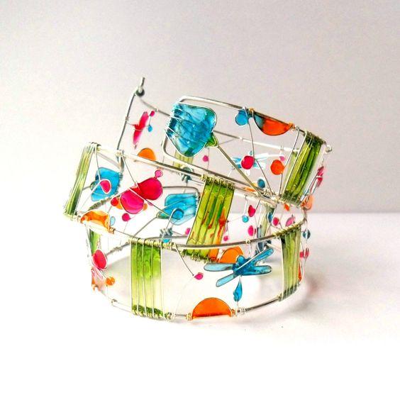 Colorful resin cuff, dragonfly bracelet, butterfly bracelet, wire bracelet, stained glass cuff, nature bracelet. $60.00, via Etsy.