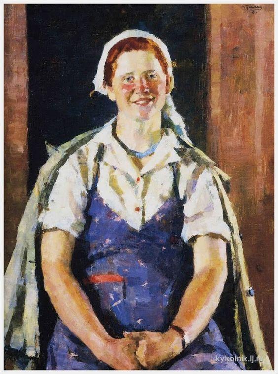 Цейтлин Григорий Израилевич (Россия, 1911-2000) «Портрет колÑозницы Фоминой»