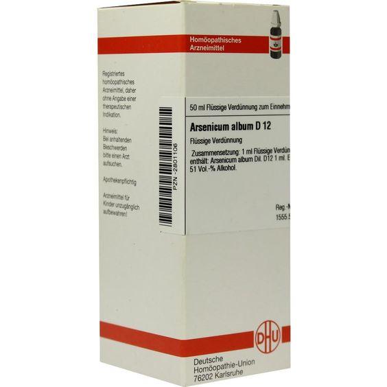 ARSENICUM ALBUM D 12 Dilution:   Packungsinhalt: 50 ml Dilution PZN: 02801106 Hersteller: DHU-Arzneimittel GmbH & Co. KG Preis: 10,19 EUR…
